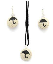 Eternz Reve Collection Umbrella Print Neck Piece & Ear Ring Set - Beige
