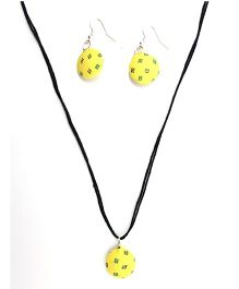 Eternz Reve Collection Printed Neck Piece & Ear Ring Set - Yellow