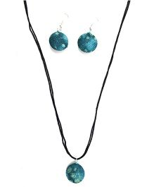 Eternz Reve Collection Printed Neck Piece & Ear Ring Set - Blue