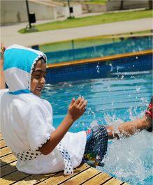 Kadam Baby Half Sleeves Hooded Bathrobe - White Blue