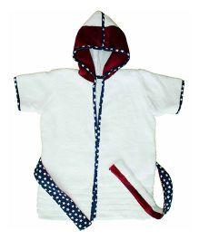 Kadam Baby Half Sleeves Hooded Bathrobe - White Maroon