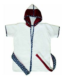 Kadam Baby Soft Premium Terry Hooded Bathrobe - White Maroon