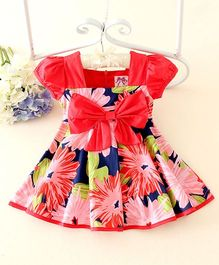 Peach Giirl Floral Bow Dress - Red