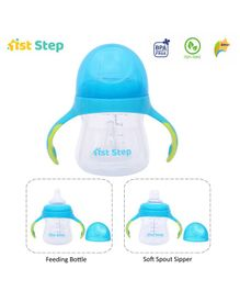 1st Step 2 Stage Cup With Silicone Nipple and Spout Blue - 150 ml