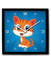 Stybuzz Wall Clock Cat Print - Blue
