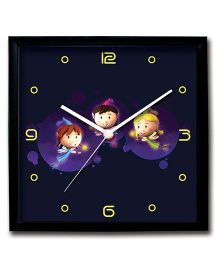 Stybuzz Wall Clock Faries Print - Black