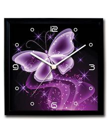 Stybuzz Wall Clock Butterfly Print - Black and Purple