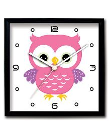 Stybuzz Wall Clock Owl Print - Pink