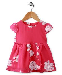 Peach Giirl Floral Party Dress - Red