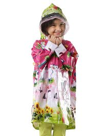 Babyhug Multi Printed Raincoat - Green & Pink
