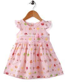 Peach Giirl Floral Cotton Dress - Pink
