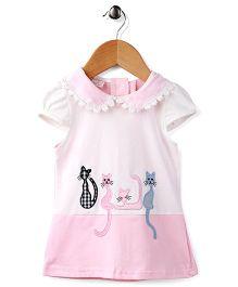 Peach Giirl Kitty Print Dress - White & Pink