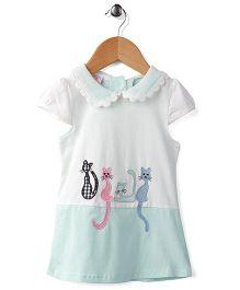 Peach Giirl Kitty Print Dress - White & Blue