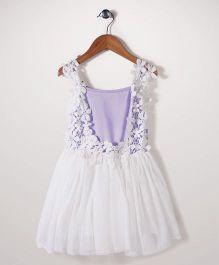 Peach Giirl Lace Design Dress - White & Purple