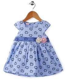 Peach Giirl Floral Design Dress - Blue