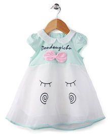 Peach Giirl Short Sleeves Smiley Face Dress - Cyan Blue