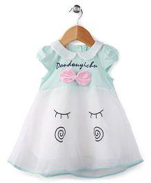 Peach Giirl Short Sleeves Smiley Face Dress - Cyan Blue
