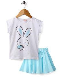 Peach Giirl Cute Bunny  Skirt Set - Blue