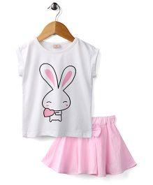 Peach Giirl Cute Bunny  Skirt Set - Pink