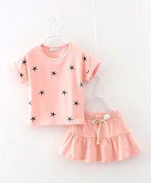 Peach Giirl Pretty Star Skirt Set - Light Peach