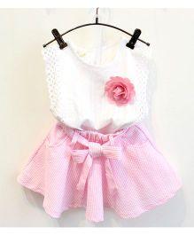 Peach Giirl Sleeveless Top And Skirt Set Flower Applique - White & Pink