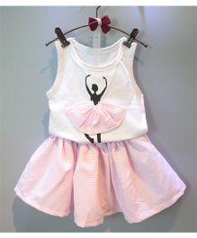 Peach Giirl Smart Dancing Doll Print Skirt Set - White And Pink