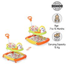 Babyhug Mini Steps Baby Walker - Green & Orange