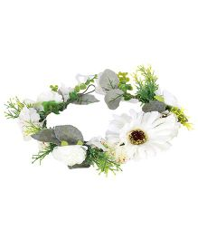 Cutecumber Hair Tiara White And Green - Floral Embellishment