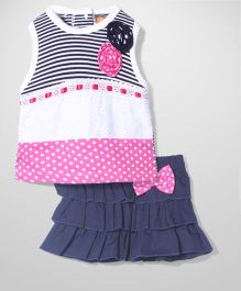 Little Kangaroos Racer Back Stripes And Dotted Top And Elasticated Frills Skirt Set - Pink White Blue
