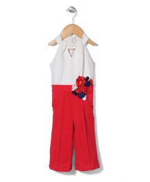 Little Kangaroos Halter Neck Jumpsuit With Floral Appliques - Red And Off White