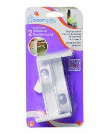 Dreambaby Adhesive Double Locks White - Pack Of 2