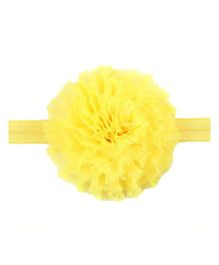Bellazaara Vintage Chiffon Shabby Flower Hair Bows Headband - Yellow