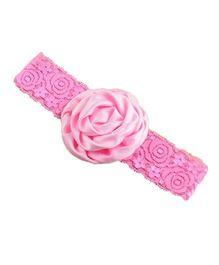 Bellazaara Christening Baby Lace Rose Flower Headband - Pink