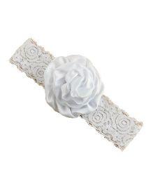 Bellazaara Christening Baby Lace Rose Flower Headband - White