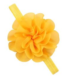 Bellazaara  Chiffon Silk Flowers Soft Stretch Headband - Yellow