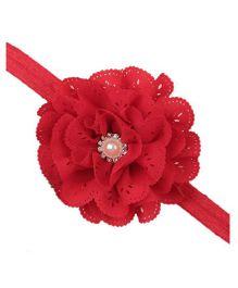 Bellazaara Eyelet Flower Headband With Pearl Crystal Center - Red
