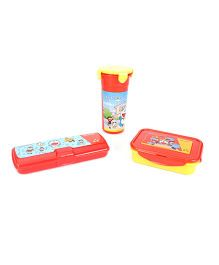 Doraemon Lunch And Pencil Box With Tumbler - Red Yellow