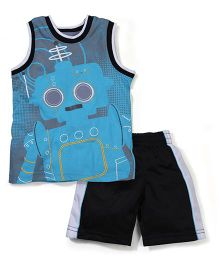 Little Rebels Stylish T-Shirt & Shorts 2 Piece Set - Blue & Black