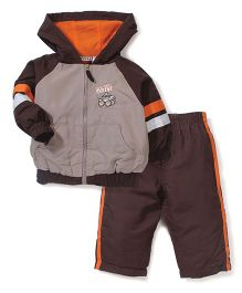Little Rebels Four Wheel Drive Print Hooded Jacket & Pant Set - Brown