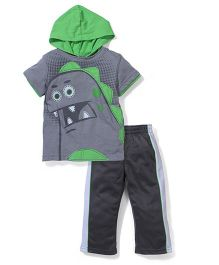 Little Rebels 2 Piece Hooded T-Shirt & Track Suit - Grey & Green