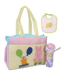 Duck Diaper Bag With Bottle Cover And Bib Rabbit Patch - Yellow & Pink