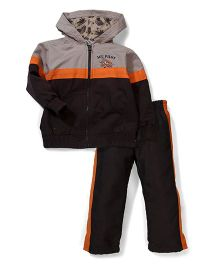Little Rebels Ace Pilot Hooded Jacket & Pant Set - Black & Grey