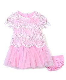 Nannette Dress & Bloomer Set With Bow - Pink