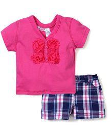 Young Hearts Rose Design Top & Shorts Set - Pink & Blue