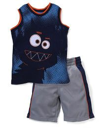 Little Rebels Face Print T-Shirt & Shorts Set - Blue & Grey