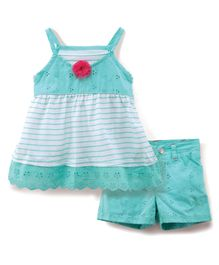 Nannette Stripes Top & Shorts Set - Blue