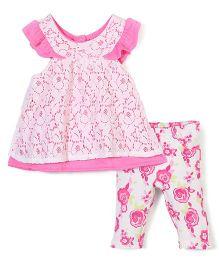 Nannette Floral Print Dress & Legging Set - White & Pink