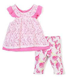 Nannette Floral Print Dress & Legging Set - White & Pink
