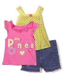 Nannette Sleeveless Tops & Shorts Set - Pink Yellow & Blue