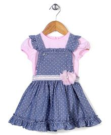 Nannette Polka Dot Dress - Pink & Blue